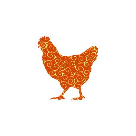 Chicken bird spiral pattern color silhouette animal