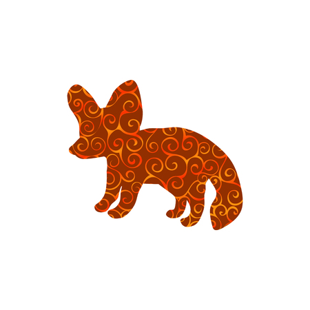 Fennec fox spiral pattern color silhouette animal.