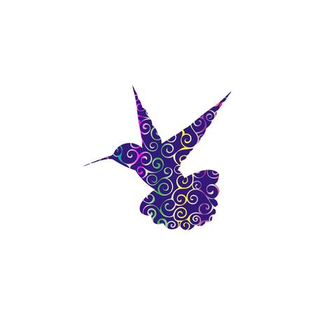 Hummingbird bird spiral pattern color silhouette animal