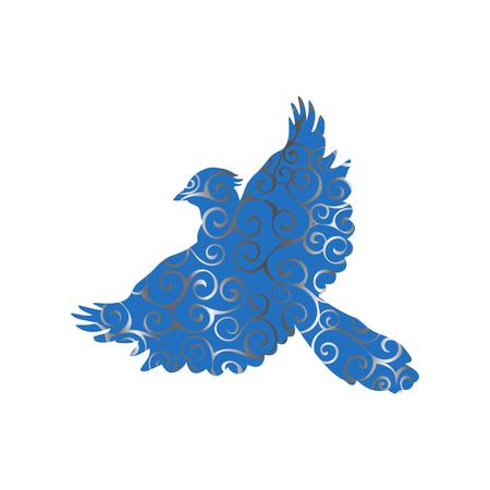 Jay bird spiral pattern color silhouette animal. Vector Illustrator. Stock Illustratie