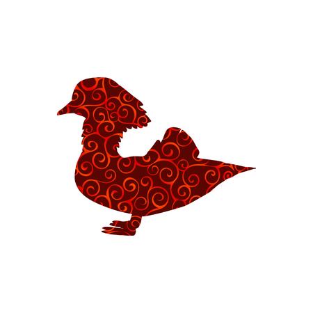 Mandarin bird spiral pattern color silhouette animal. Vector Illustrator.