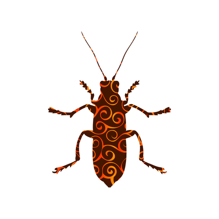 Beetle insect spiral pattern color silhouette animal. Vector Illustrator.