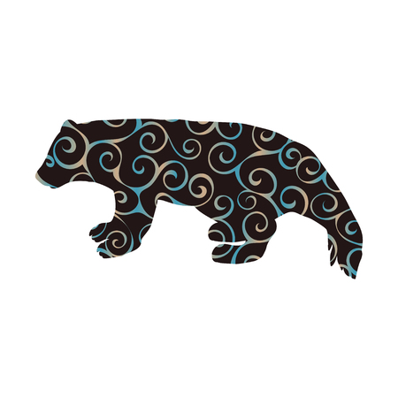 Wolverine bear wildlife spiral pattern color silhouette animal. Vector Illustrator.