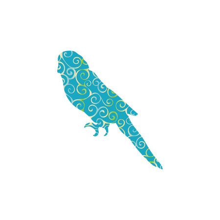 Parrot budgerigar bird spiral pattern color silhouette animal. Vector Illustrator.