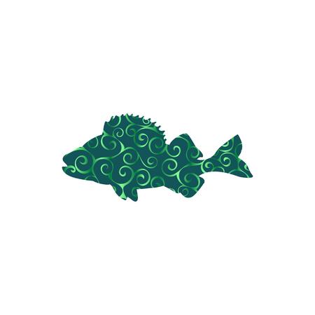 Perch fish aquatic spiral pattern color silhouette animal. Vector Illustrator.