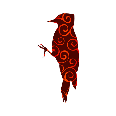 Woodpecker bird spiral pattern color silhouette animal