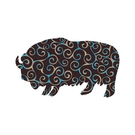 Bull musk ox mammal spiral pattern color silhouette animal. Vector Illustrator.
