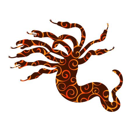 Hydra pattern silhouette ancient mythology fantasy Vector illustration. Illustration
