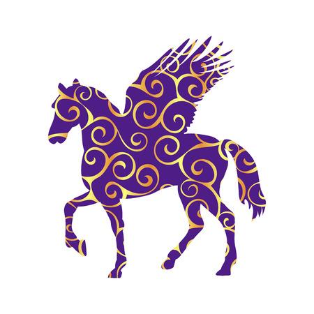 Pegasus pattern silhouette mythology symbol fantasy tale.