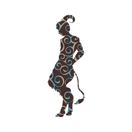 Satyr Faun pattern silhouette ancient mythology fantasy Vector illustration.