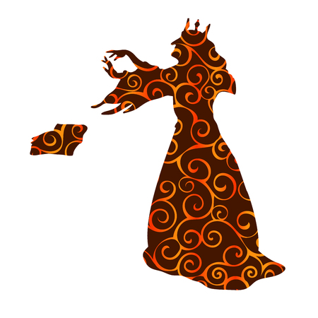 Gueen evil witchcraft magical pattern silhouette fantasy. Vector illustration.