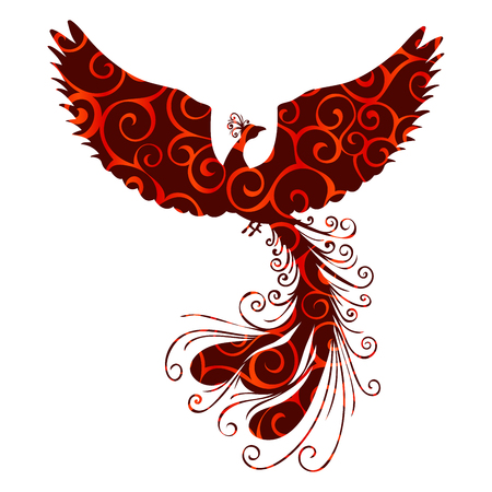 Phoenix bird pattern silhouette ancient mythology fantasy. Vector illustration.