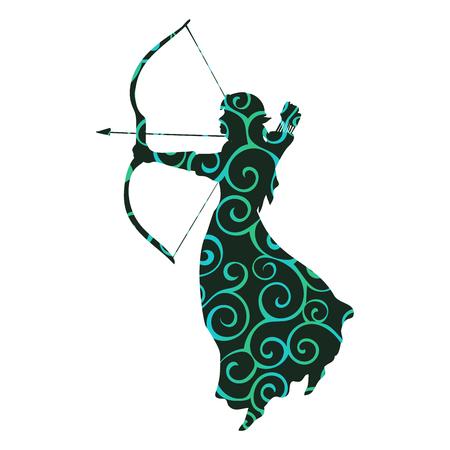 Elf pattern silhouette ancient mythology fantasy Illustration