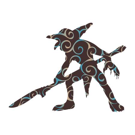 Goblin pattern silhouette monster villain fantasy