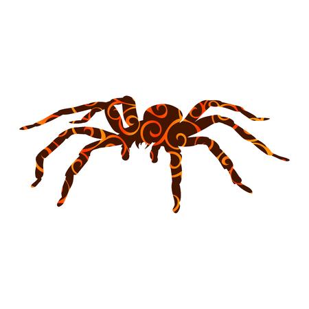 Spider monster patroon silhouet oude mythologie fantasie. Vector illustratie.
