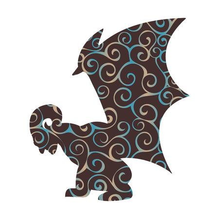 Gargoyle pattern silhouette ancient traditional symbol. Vector illustration.