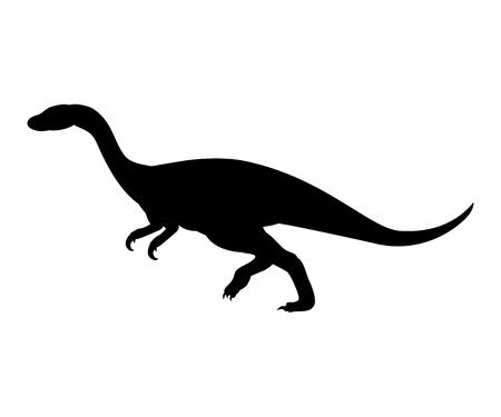 Hypsilophodon silhouette dinosaur jurassic prehistoric animal. Vector illustration