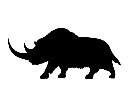 Woolly rhinoceros silhouette extinct mammalian animal
