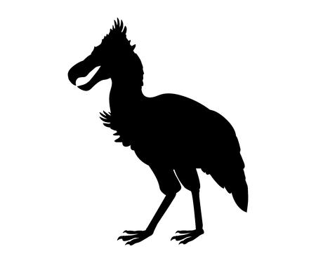 Phorusrhacos prehistoricbird silueta animal extinto Ilustración de vector