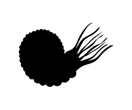 Ammonit mollyusk silhouette  prehistoric animal Vectores