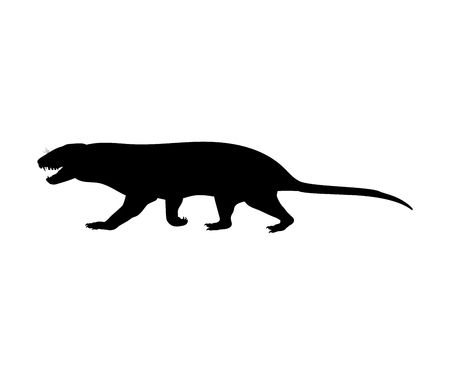 Tritylodontydae silhouette extinct mammalian animal. Vector illustration