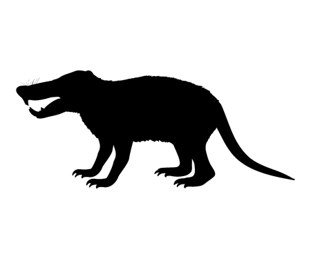 Deinogalerix hedgehog rat silhouette extinct mammal animal 일러스트