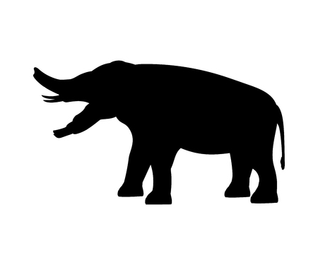 Platybelodon elephant silhouette extinct mammal animal