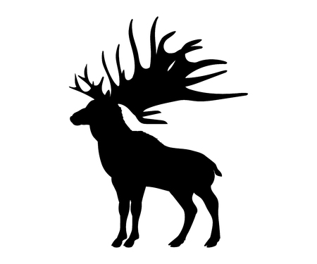 Megaloceros giant reindeer silhouette extinct mammalian animal