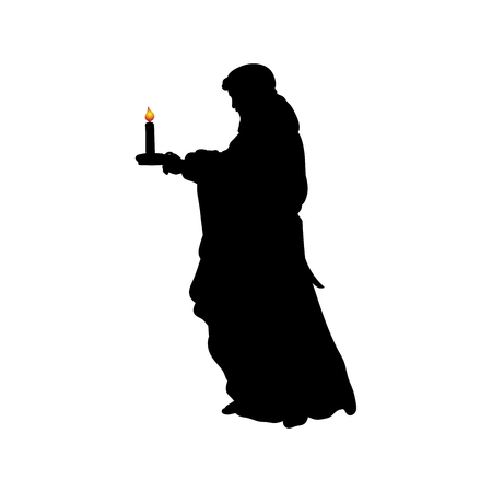 Silhouette praying man with candle Archivio Fotografico - 116860558