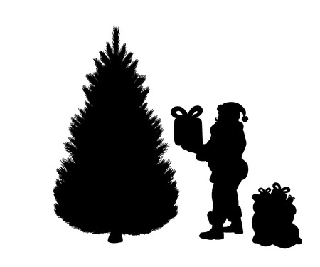 Silhouette Santa puts gifts under tree. Vector illustration Imagens - 127695939