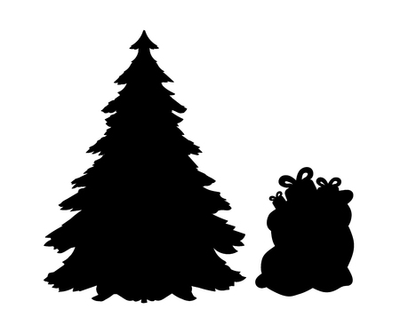 Silhouette Christmas trees and gifts. Vector illustration