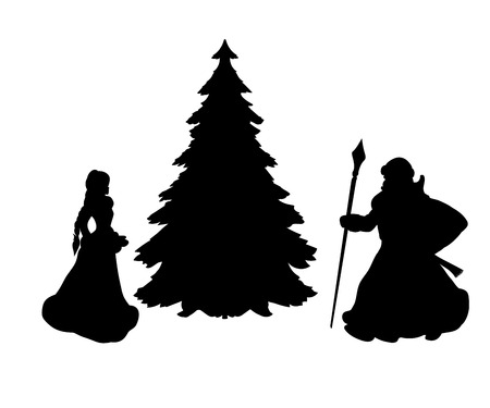 Silhouette grandfather Frost and snow Maiden at Christmas tree. Vector illustration