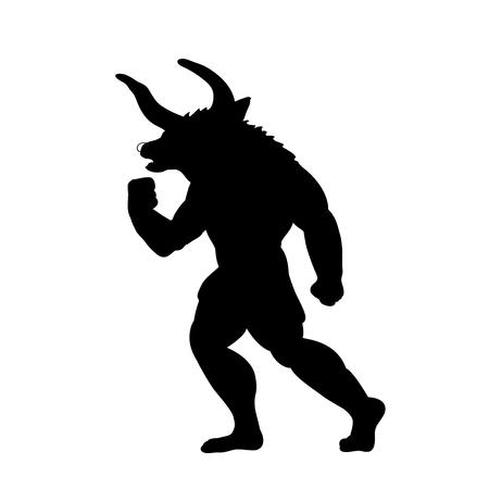 Minotauro silueta antigua mitología fantasía Ilustración de vector