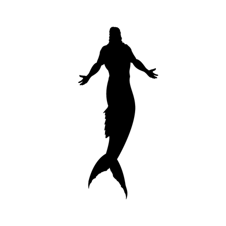 Mermaid man silhouette mythology fantasy