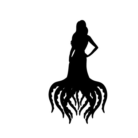 Octopus woman silhouette ancient mythology fantasy
