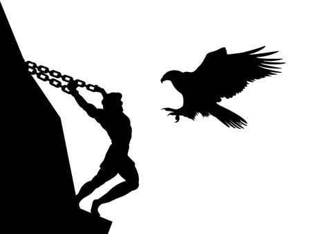 Prométhée dieu aigle silhouette mythologie antique fantaisie