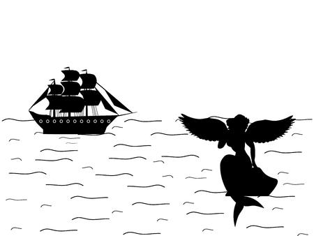 Siren mermaid naiad ship silhouette ancient mythology fantasy. Vector illustration. Imagens - 125178800