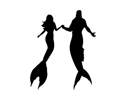 Mermaid man woman silhouette mythology fantasy