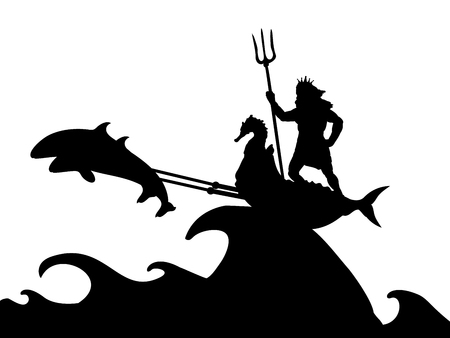 Poseidon Neptunus god dolphin chariot silhouette ancient mythology fantasy Illustration