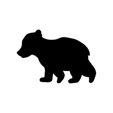 Bear cub wild black silhouette animal Stock Vector - 123626648