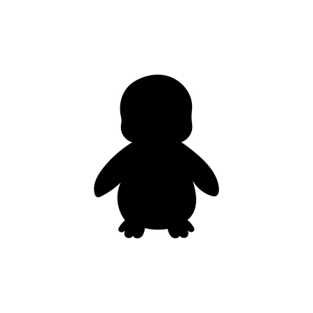 Penguin baby bird silhouette animal. Vector Illustrator. Imagens - 124931258