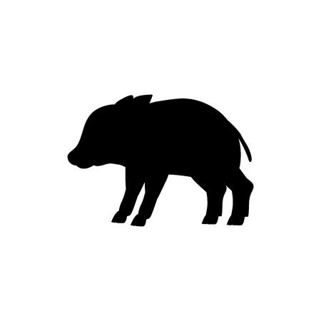 Baby boar wildlife black silhouette animal. Vector Illustrator.