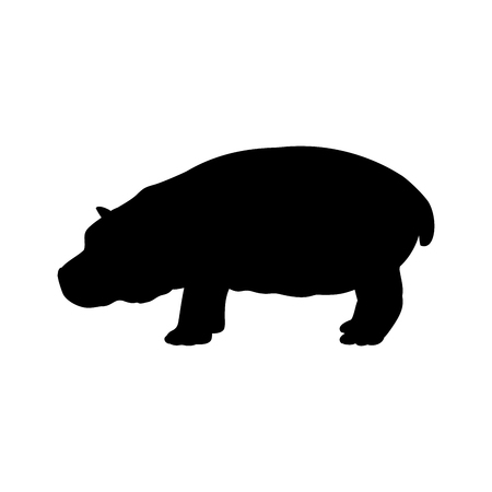 Cub hippo mammal black silhouette animal. Vector Illustrator.