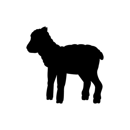 Lamb sheep farm mammal black silhouette animal. Vector Illustrator.