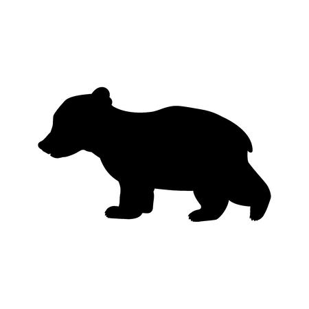 Cucciolo di orso animale selvatico sagoma nera. Illustratore di vettore.