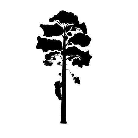 Cub bear climbs tree silhouette animal. Vector Illustrator.