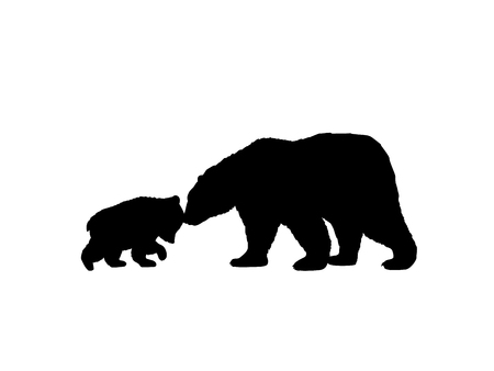 Bear family black silhouette animals.