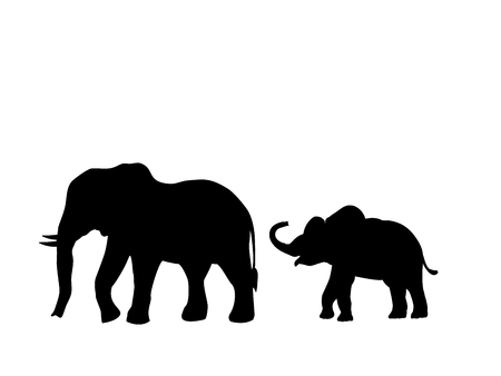 Elephant and Elephant calf mammal black silhouette animal