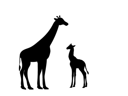 Giraf en giraf welp zoogdier silhouet dier Vector Illustratie