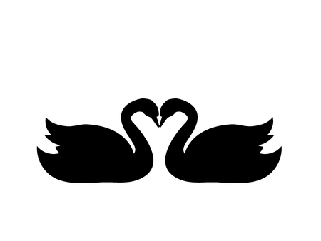 Swans love bird black silhouette animal.  イラスト・ベクター素材
